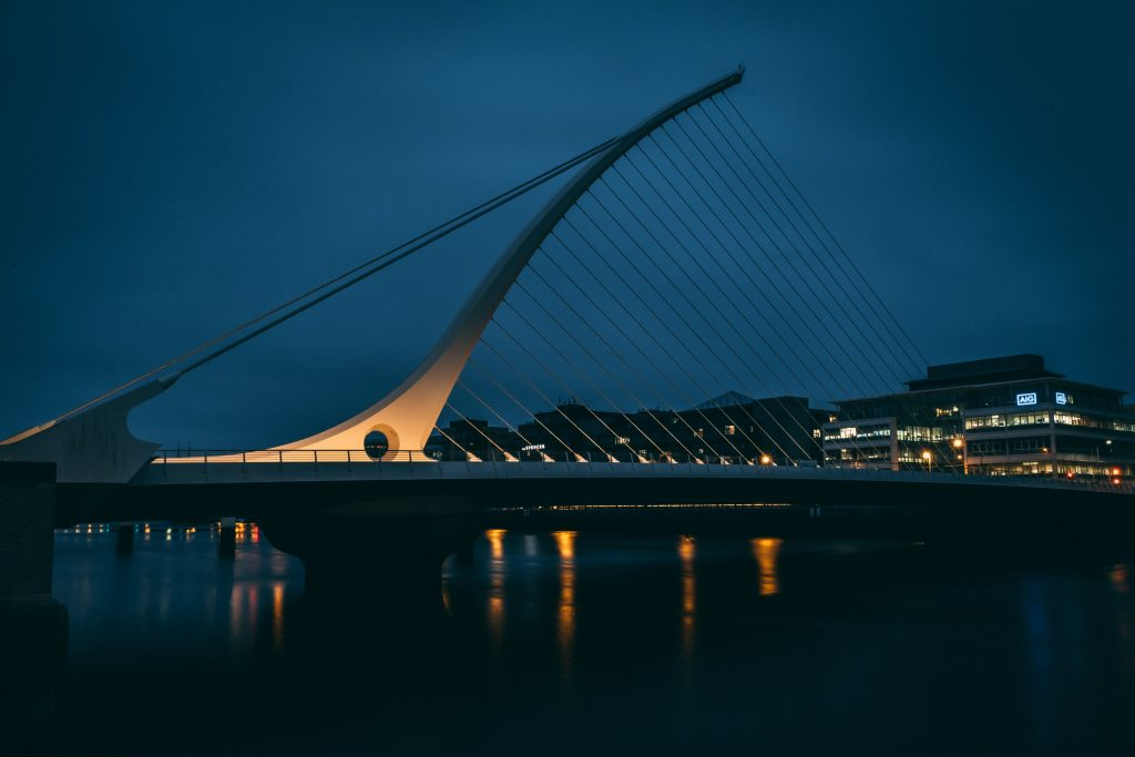 Beckett Bridge in Dublin at night