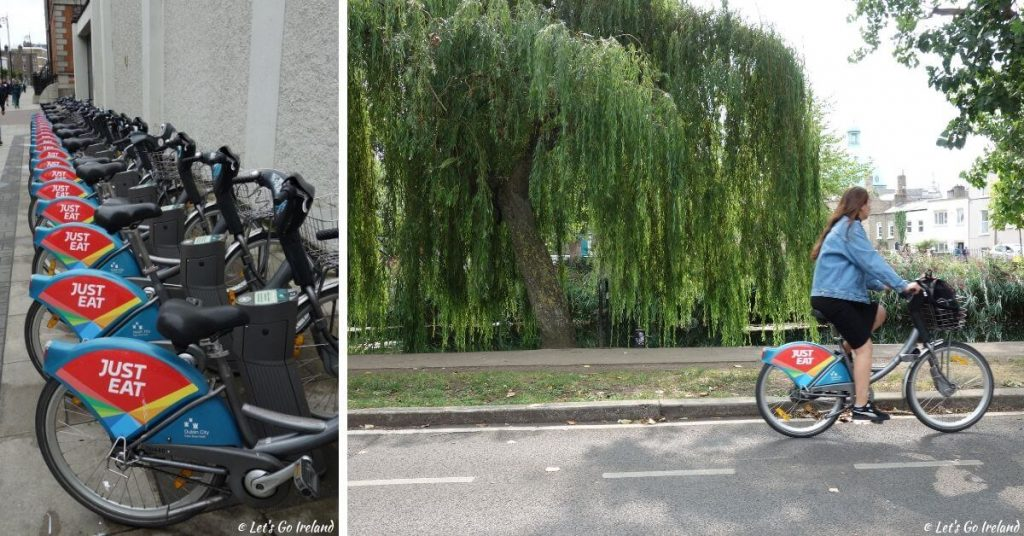 A Dublin bike docking station and cycling along the canal in Dublin, Ireland