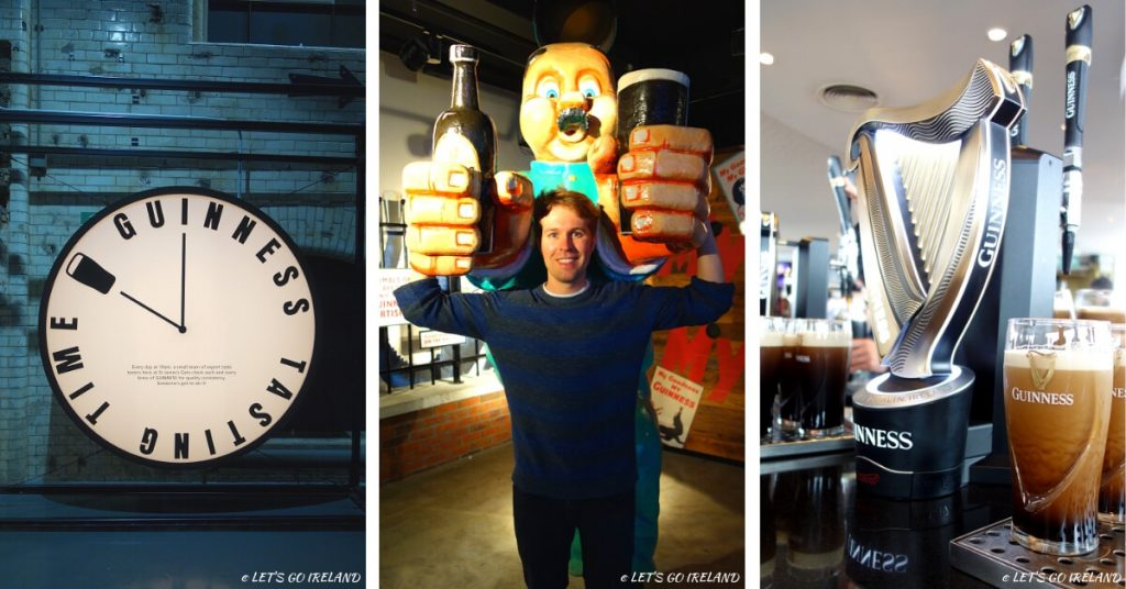 Guinness tasting time quality control clock, Nils with a rather big pint and a pint of Guinness being poured.