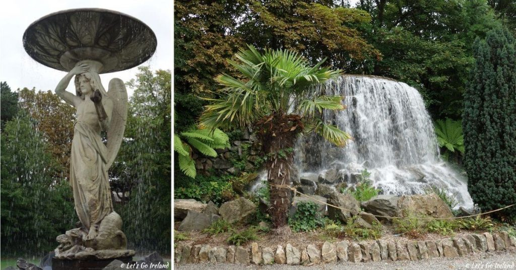 A snapshot of one of the beautiful water fountains and the waterfall in Iveagh Gardens, Dublin, Ireland