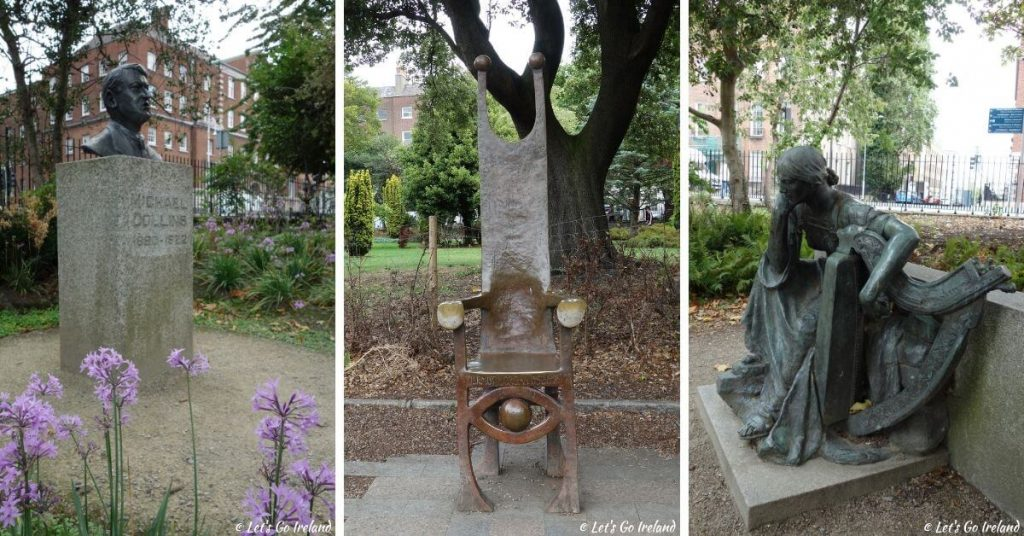 The bust of freedom fighter Michael Collins, the Joker's Chair honoring the late Dermot Morgan and a statue of Éire (personified Ireland)  in Merrion Square Park, Dublin, Ireland