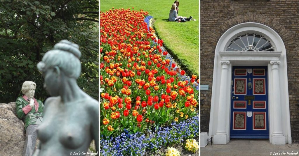 Statue of Oscar Wilde with his nude wife, a bed of tulips and a Georgian Door in Merrion Square Park, Dublin, Ireland