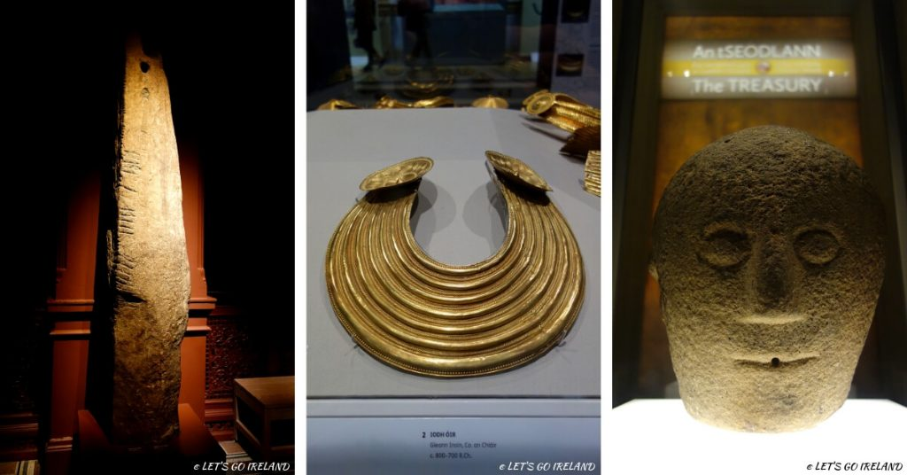Artefacts from the National Museum of Ireland - an Ogham stone, a gold collar and a carved 3-faced head