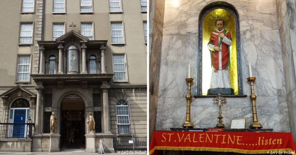 Der Eingang zur Whitefriar Street Church und die Relikte des Heiligen St. Valentins, Dublin, Irland
