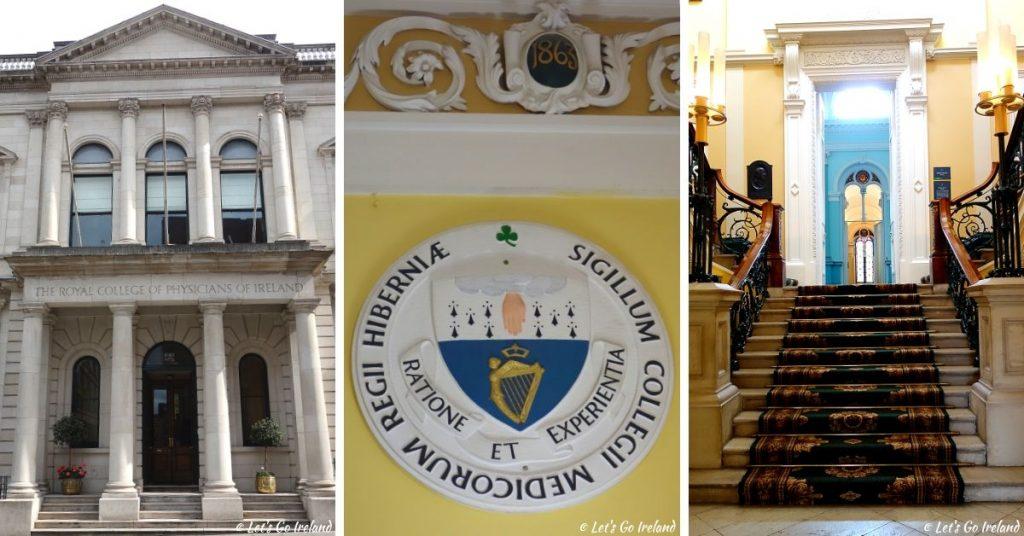 Der vordere Eingang, das Wappen und das zentrale Treppenhaus des Royal College of Physicians, Dublin, Irland