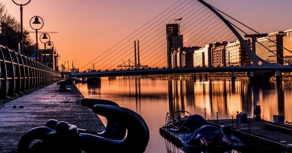View of Samuel Beckett Bridge over the River Liffey, Dublin, Ireland