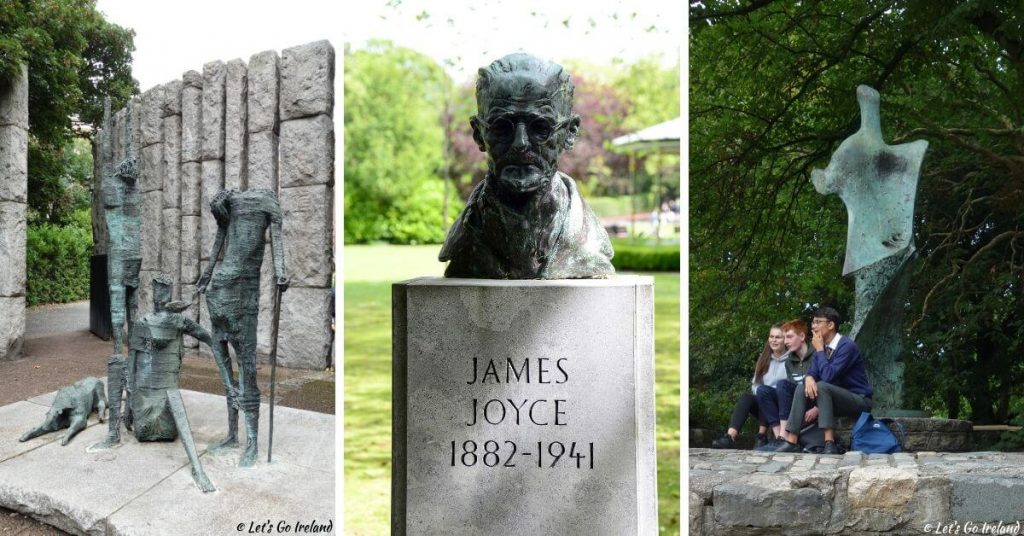 The Famine Memorial, the bust of James Joyce and a statue of W. B. Yeats in St. Stephen's Green, Dublin, Ireland