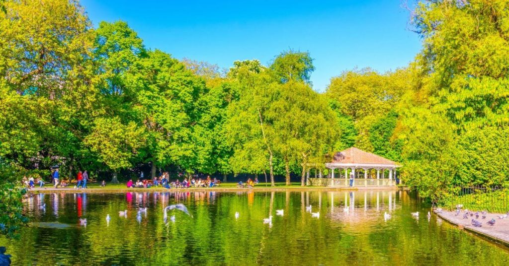 Reflections of the trees on the water in St. Stephens's Green in Dublin, Ireland