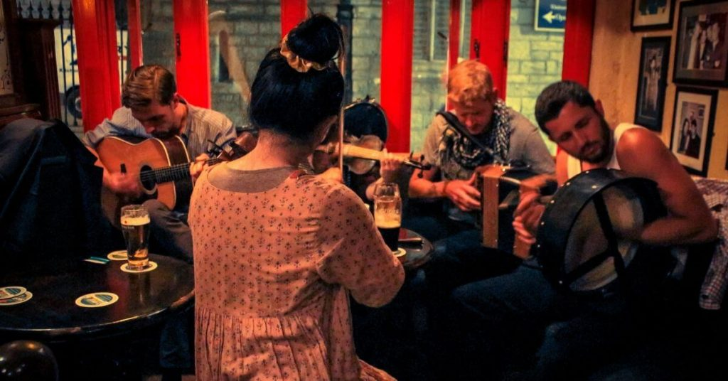 Traditional music session in a pub in Ireland