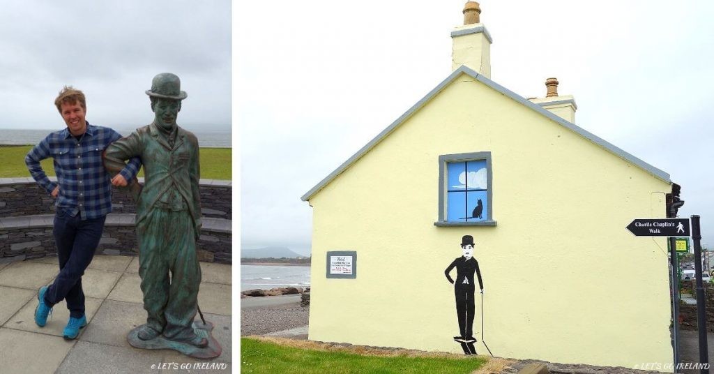 Charlie Chaplin statue and mural, Waterville, Kerry, Ireland