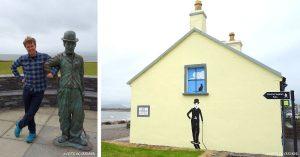 Charlie Chaplin Statue und Wandbild, Waterville, Kerry, Irland