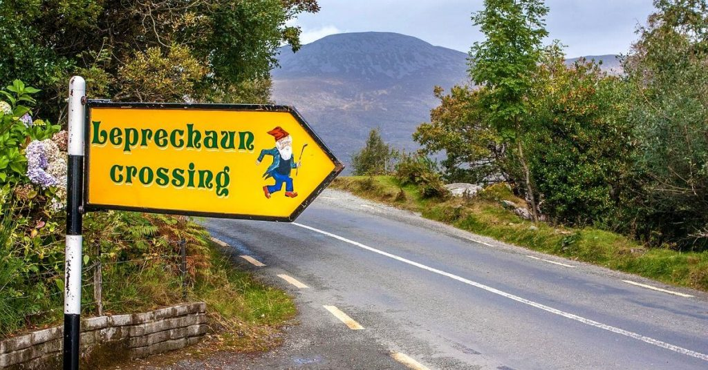 Leprechaun crossing sign at Ladies' View, near Killarney, Ireland.