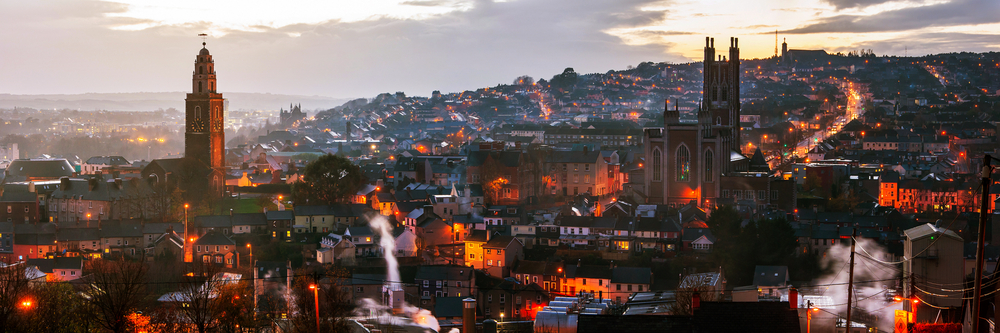 The skyline of Cork City, Ireland.