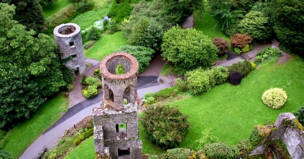 A view of Blarney Castle and Gardens, Cork, Ireland.