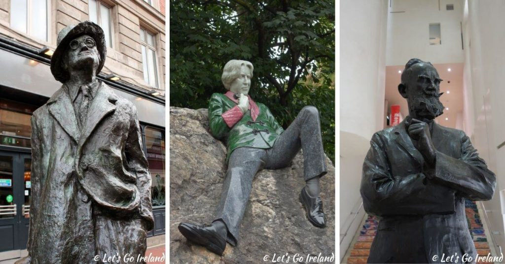 James Joyce statue, Oscar Wilde statue and George Bernard Shaw statue in Dublin, Ireland
