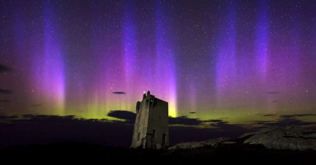 Northern Lights at Malin Head in County Donegal, Ireland