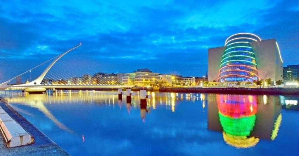 The Samuel Beckett Bridge and Convention Center in Dublin, Ireland.