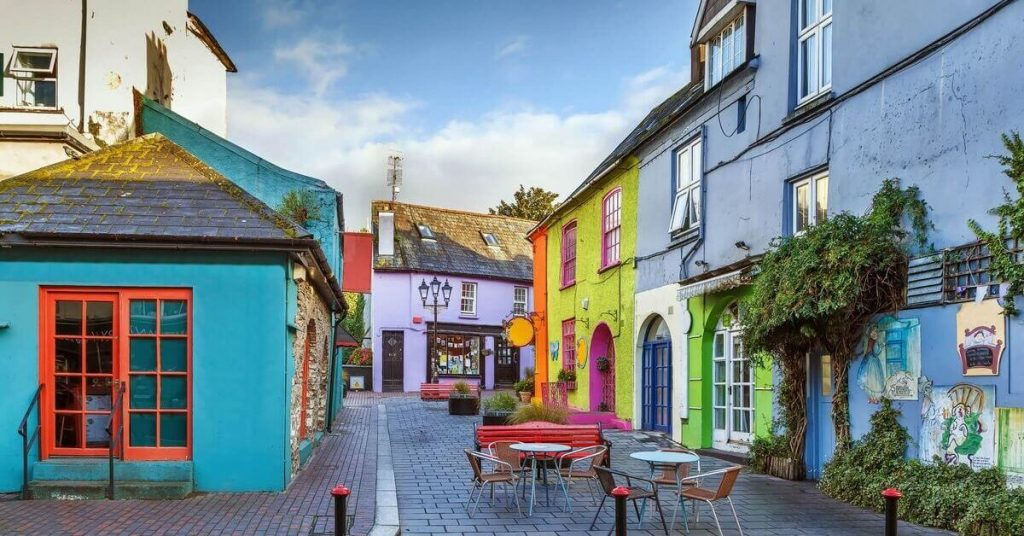 A colorful street in Kinsale, County Cork, Ireland.