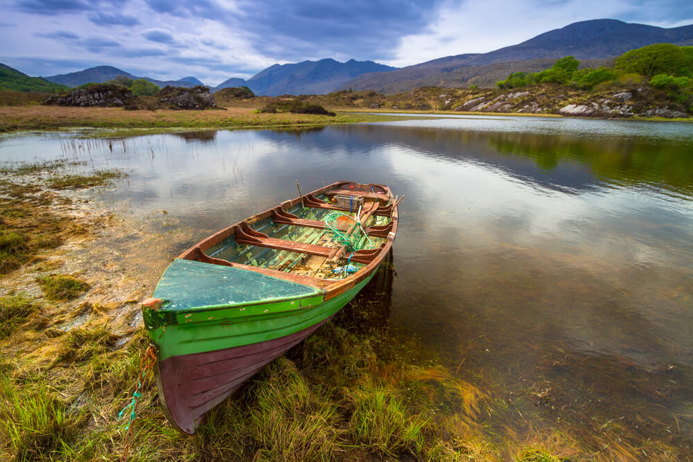 Boat on one of the Lakes of Killarney, Count Kerry, Ireland.
