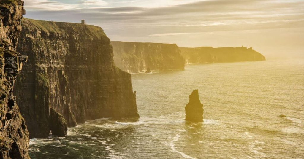 Sunset at the Cliffs of Moher, County Clare, Ireland.