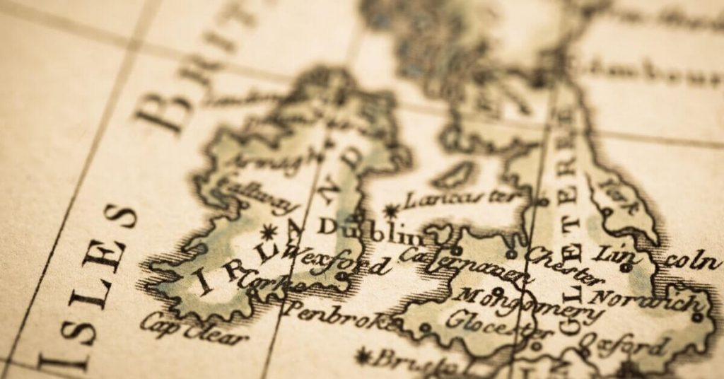 old map of Ireland and Great Britain