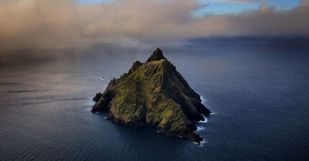 Aerial Shot of Skellig Michael County Kerry Ireland