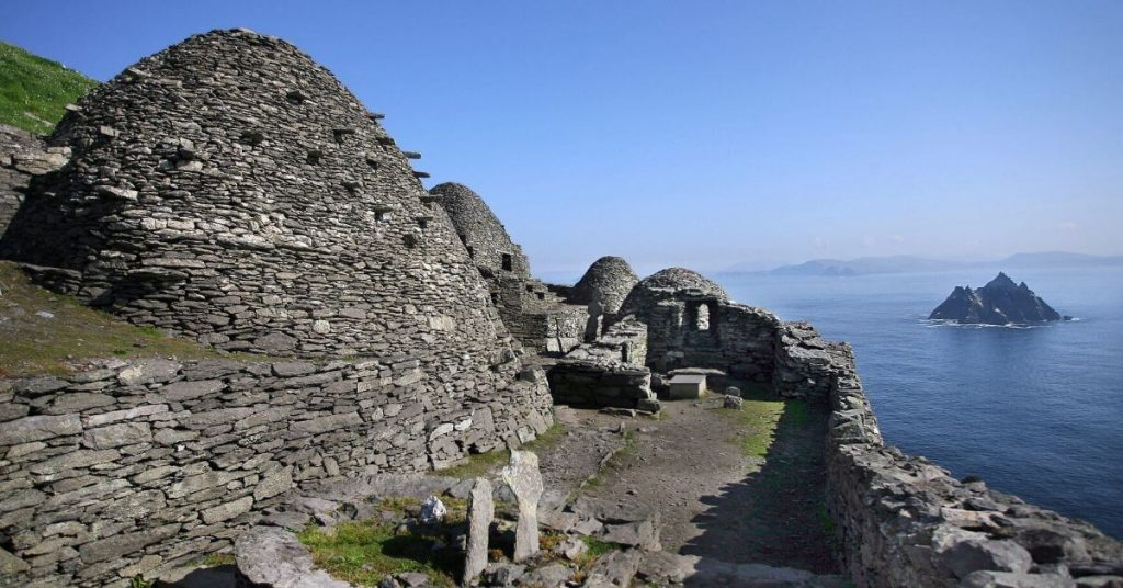 beehive huts on Skellig Michael County Kerry Ireland