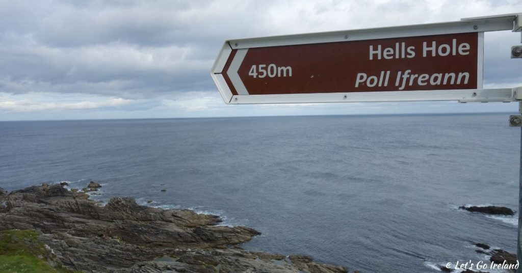 sign of Hell's Hole Malin Head County Donegal Ireland