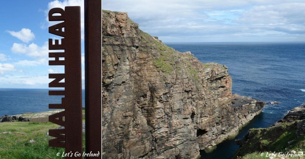 sign and view of cliffs of Malin Head County Donegal Ireland