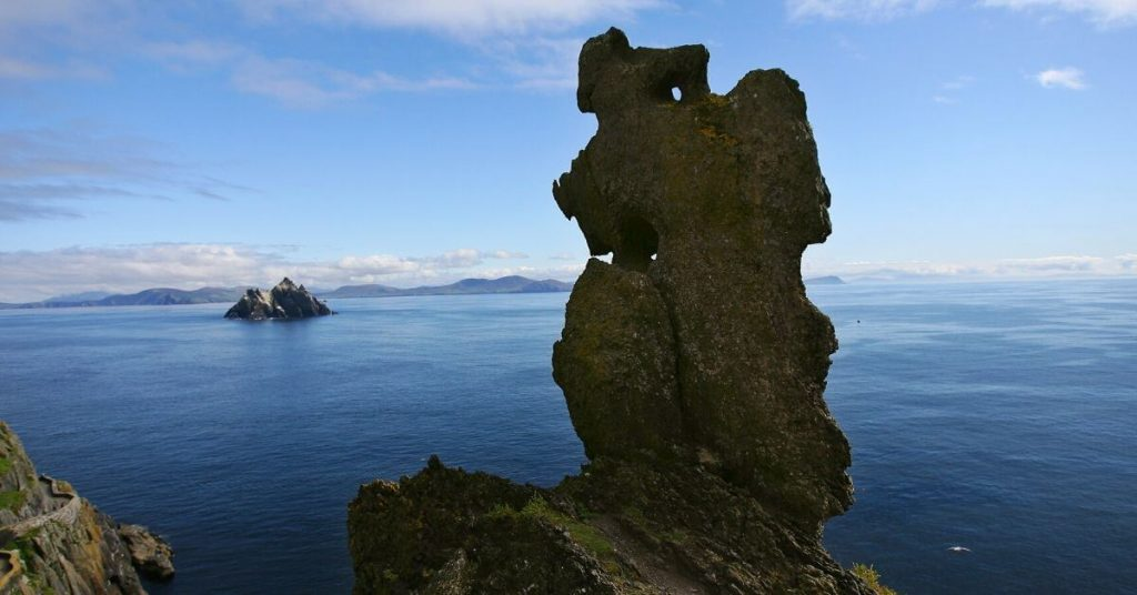 Wailing Woman Rock on Skellig Michael County Kerry Ireland and Little Skellig in the background