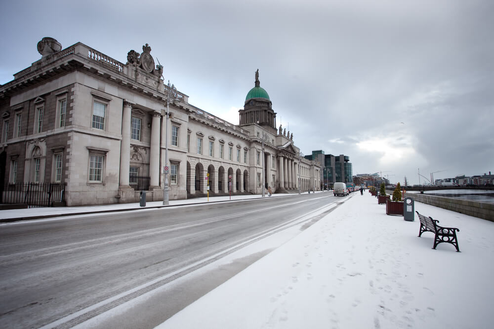 The Custom House in Dublin in winter