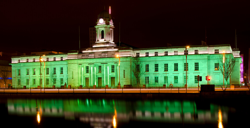 Cork City Hall on St. Patrick's Day, Ireland