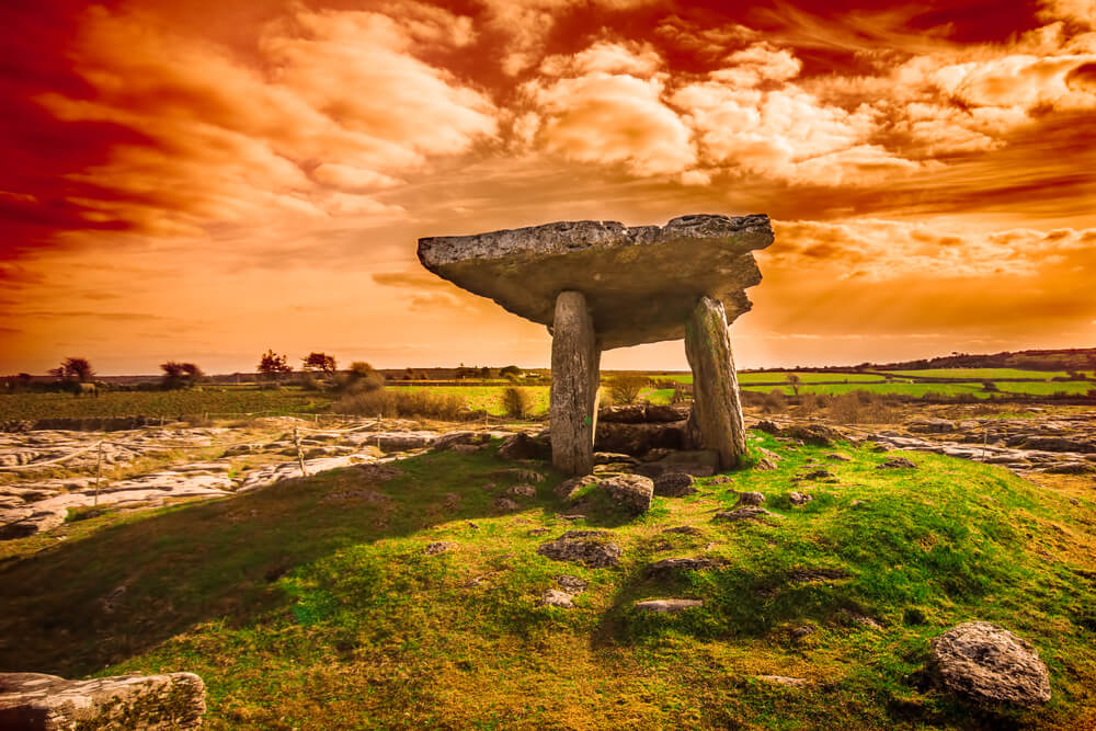 Poulnabrone Dolmen in the Burren, County Clare, Ireland.