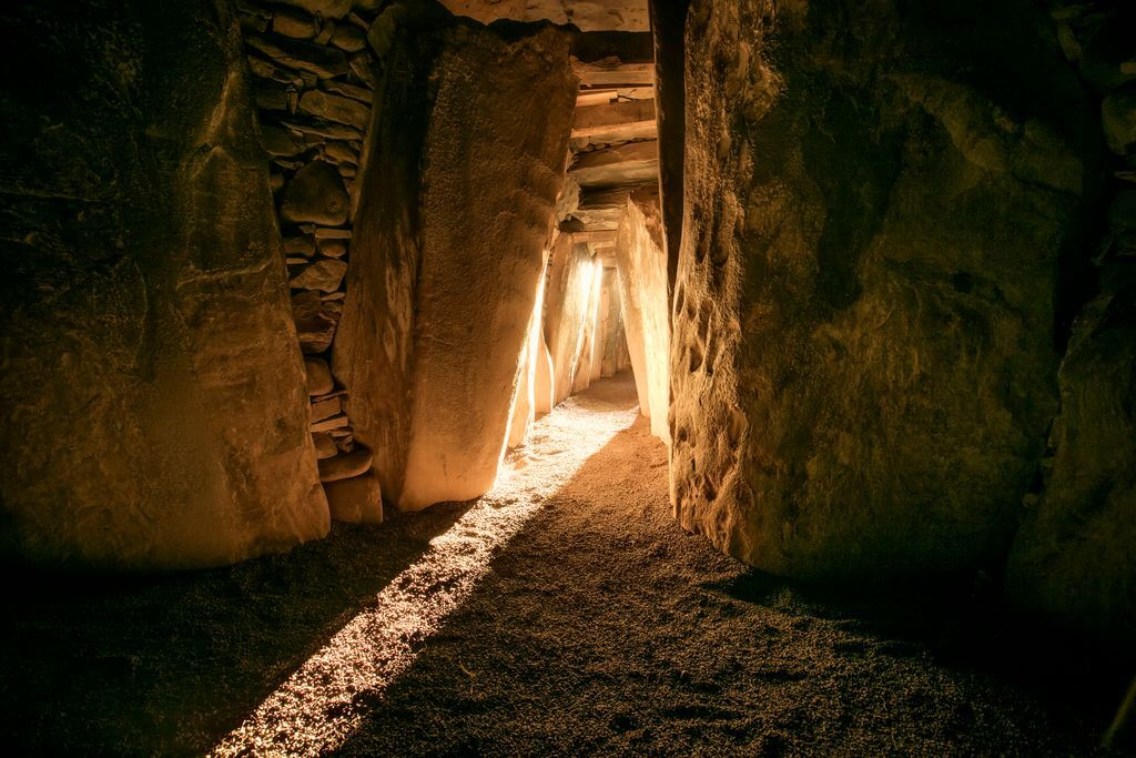 Sunlight entering the burial chamber at Newgrange in County Meath around the winter solstice.