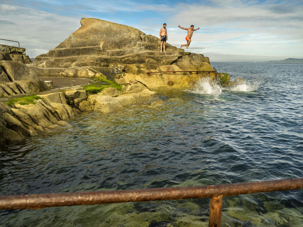 Swimming at the Forty Foot in Dublin, Ireland