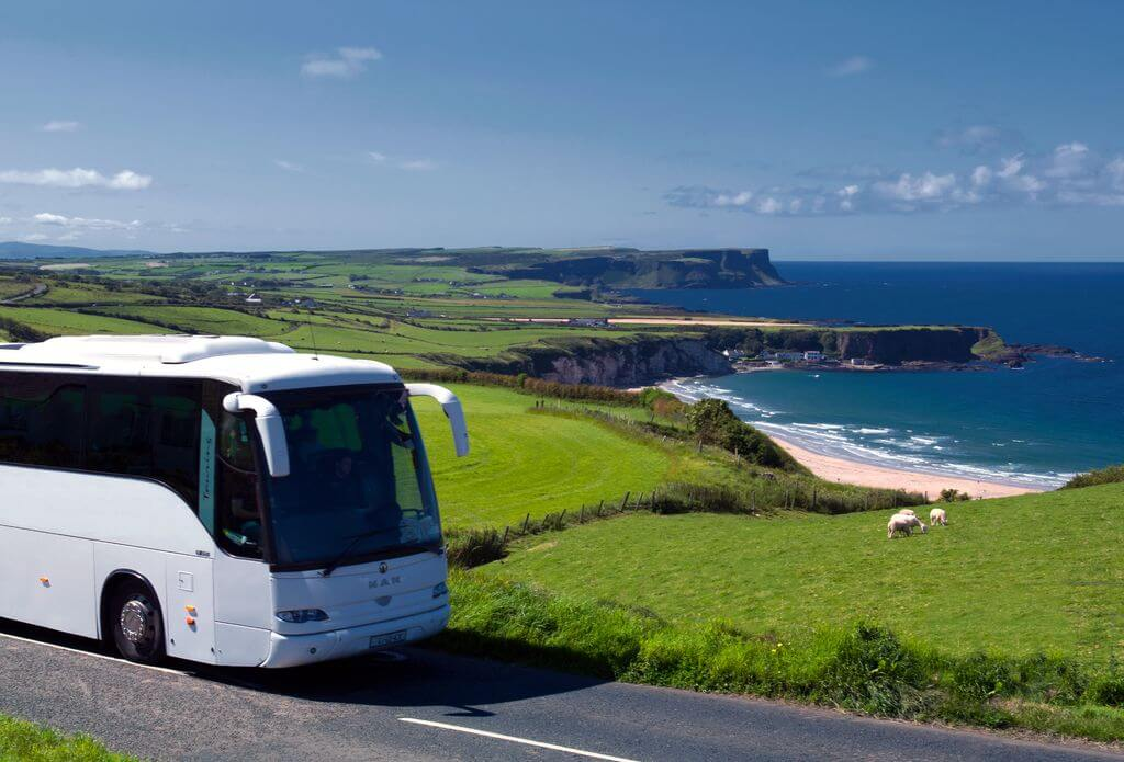 Tour coach in County Antrim, Northern Ireland.