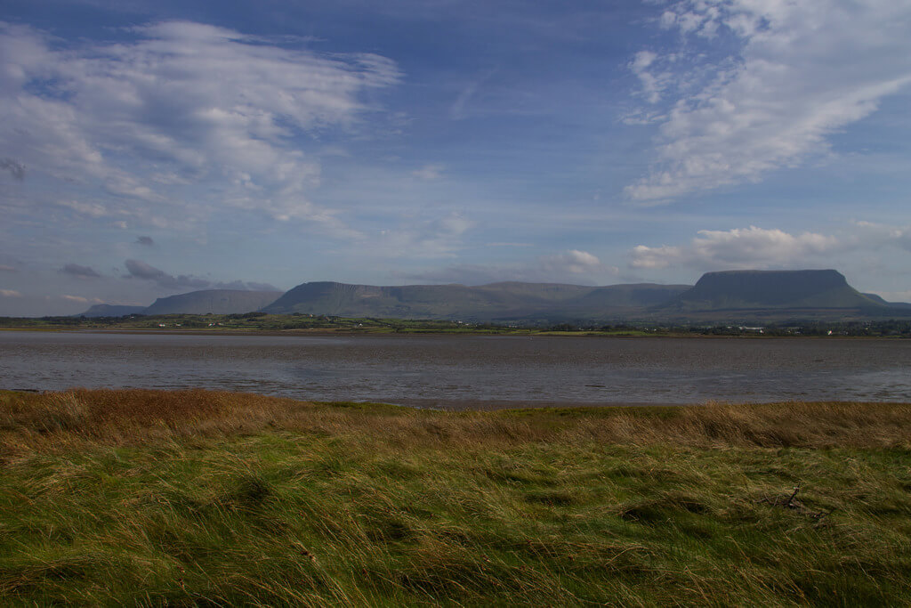 Streedagh Beach in Sligo with Ben Bulben mountain in the background