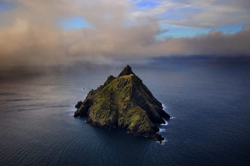 Aerial shot of Skellig Michael, Kerry, Ireland