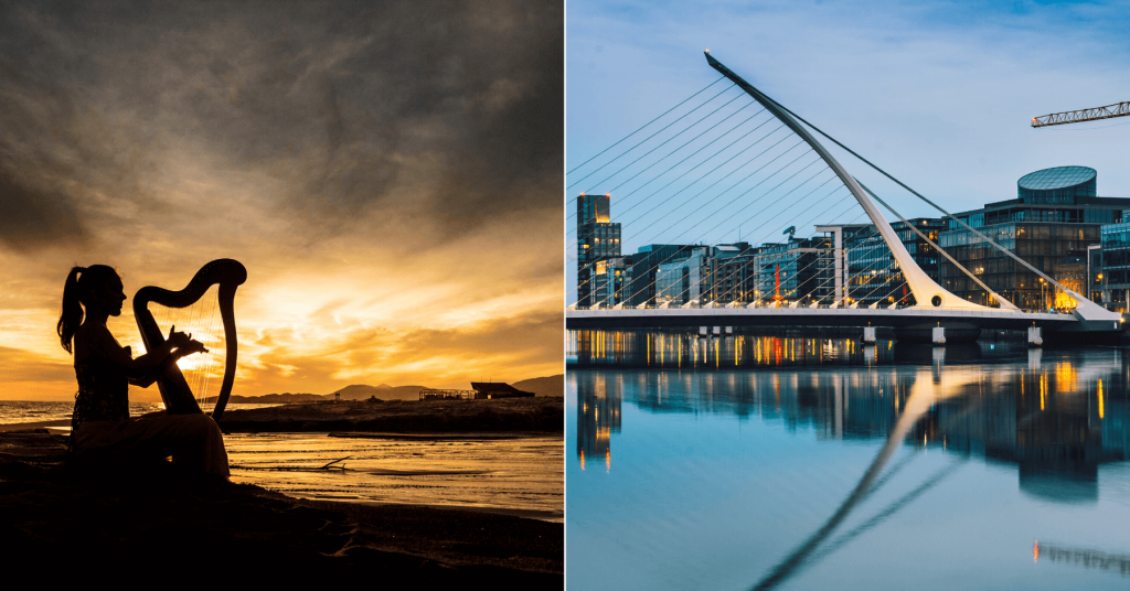 woman playing the harp during sunset and the Samuel Beckett Bridge in Dublin