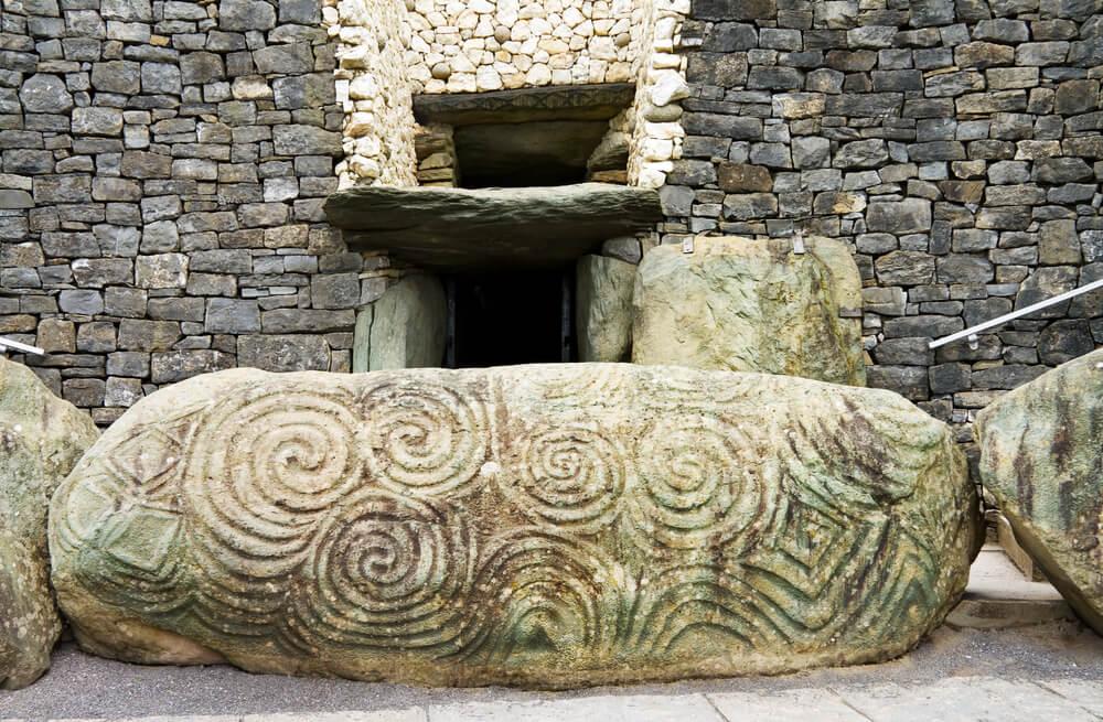 Newgrange entrance stone in County Meath, Ireland