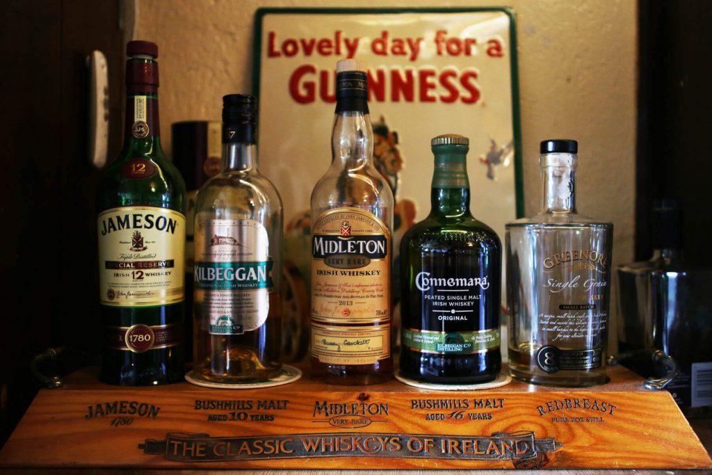 A variety of Irish whiskey bottles