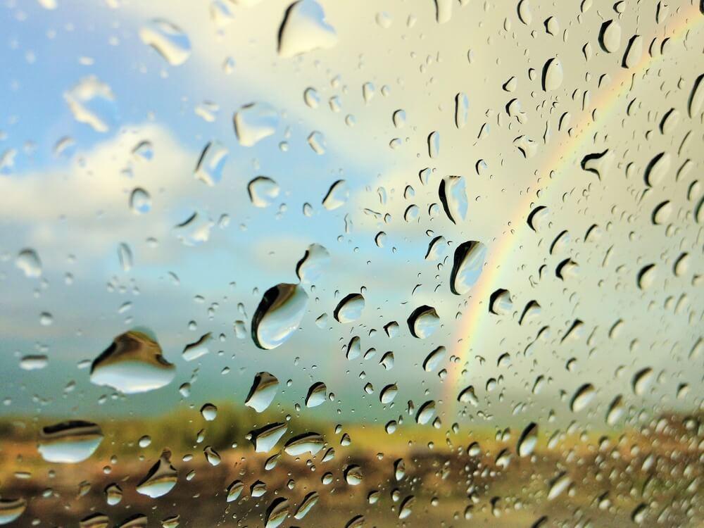 A rainbow on a rainy day.