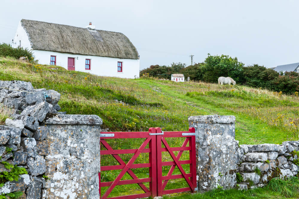 A thatched cottage on the Aran Islands, Ireland.