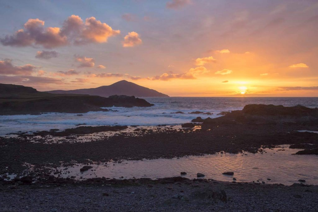 Sunset off the coast of Achill Island, County Mayo, Ireland.