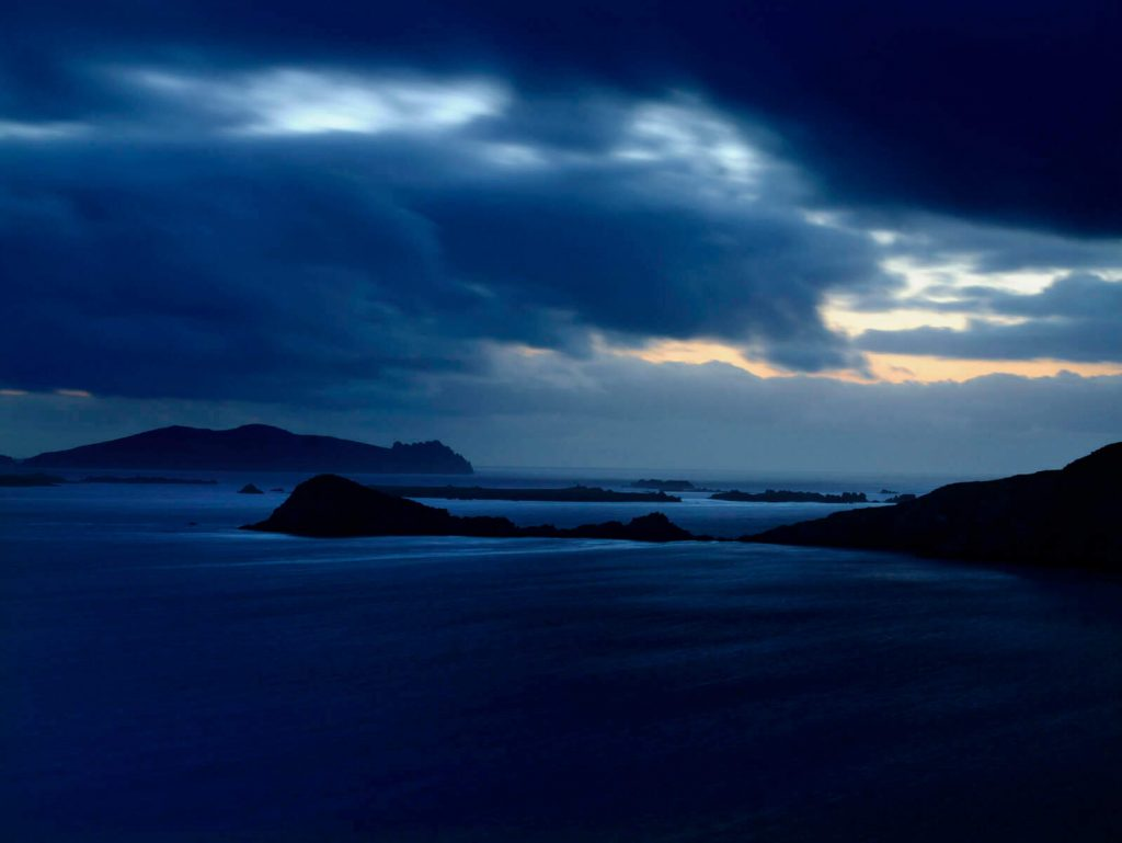 Stormy sky with backdrop of the Blasket Islands on the Dingle Peninsula, County Kerry.