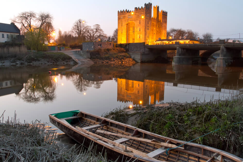 Bunratty Castle, County Clare, Ireland at dusk in winter.