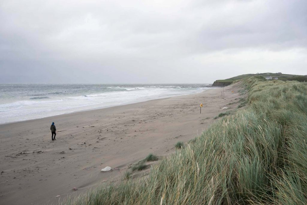 A windswept beach in County Mayo, Ireland on a wintery day.