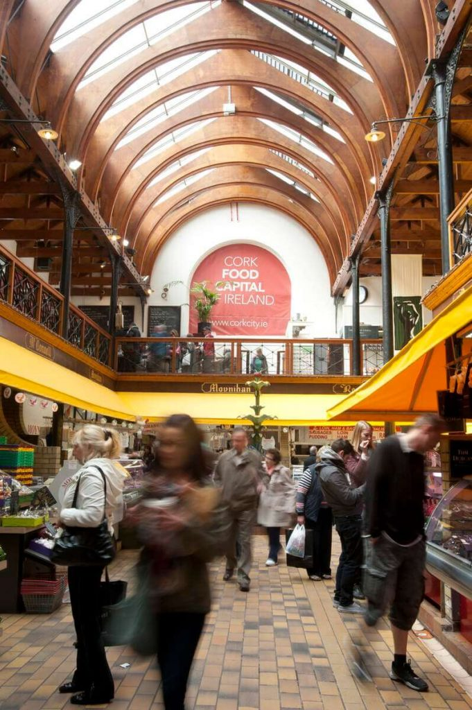 View of the the indoor English Market in Cork City, Ireland.