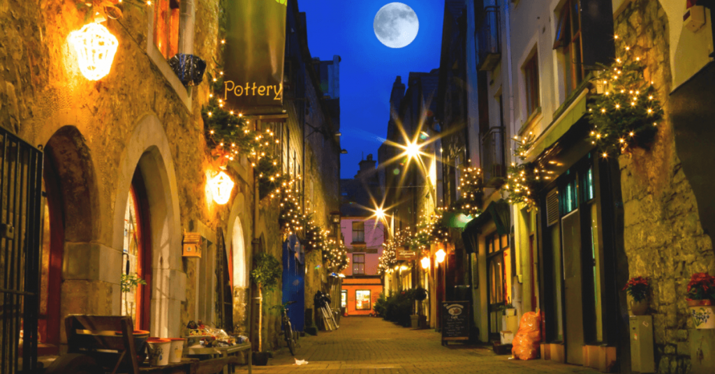 Christmas lights in Galway, Ireland in December.