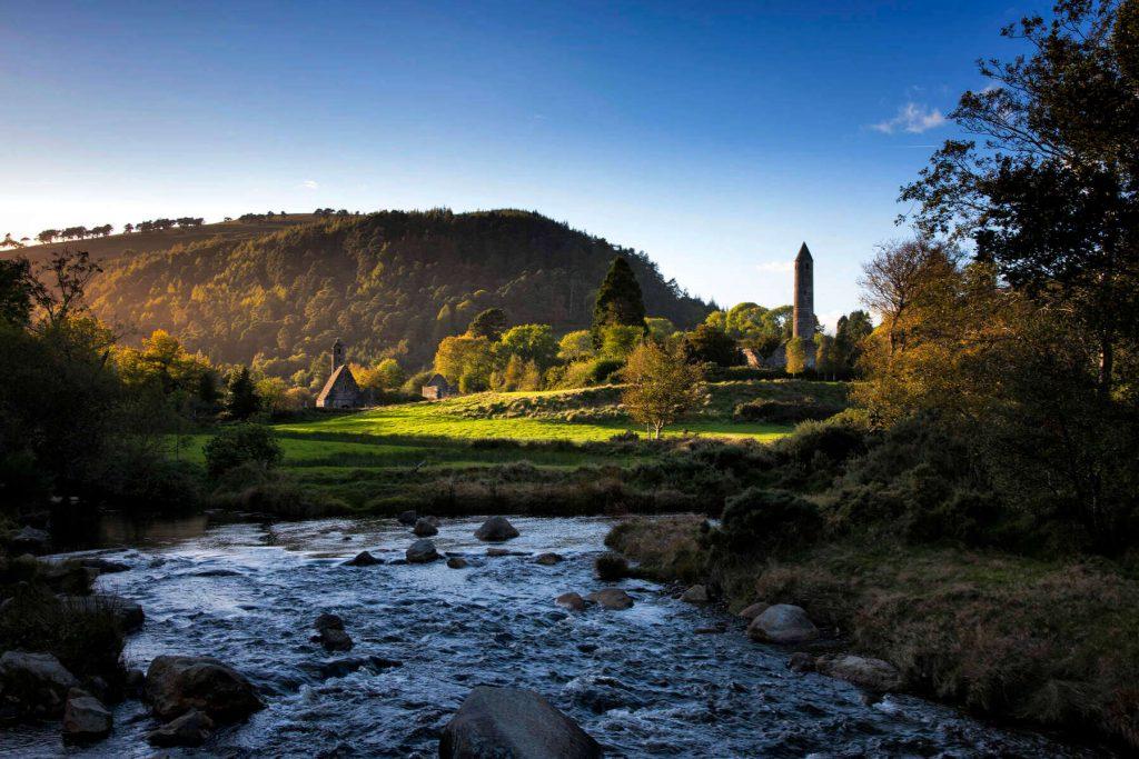 The monastic settlement at Glendalough, County Wicklow, Ireland